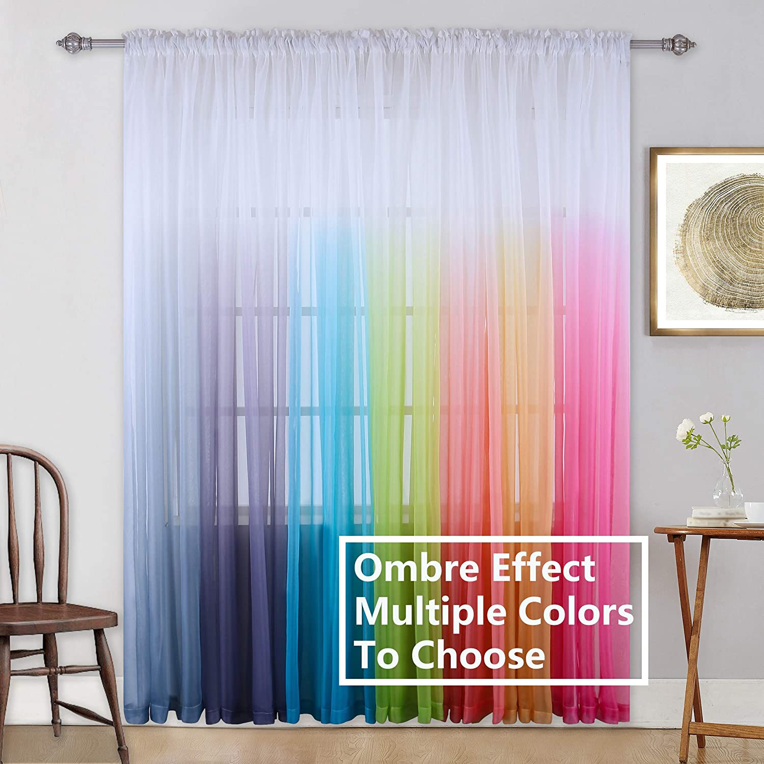 Kids Girls Bedroom Sheer Curtains Colorful Rainbow Ombre Window Panels  Drapes for Teenage Girls Room/Living Room/Kitchen/Nursery/Party Birthday