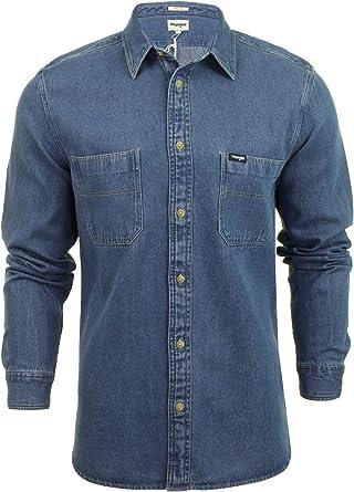 Wrangler - Camisa vaquera de manga larga para hombre Azul Índigo medio S: Amazon.es: Ropa y accesorios