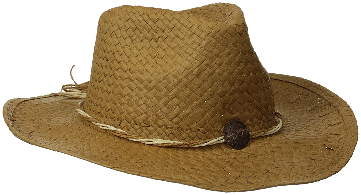 San Diego Hat Company Womens Woven Paper Cowboy with Cocunut Trim Detail Tobacco One Size pbc2441