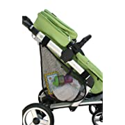 J.L. Childress Side Sling, Universal Fit Stroller Mesh Cargo Net and Organizer, Extra Stroller Storage Space, Non-Slip and Adjustable Straps, Black