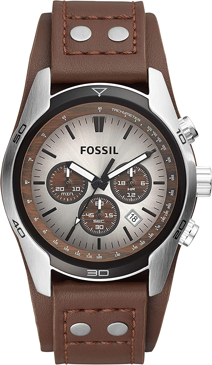 Fossil Reloj Cronógrafo para Hombre de Cuarzo con Correa en Piel