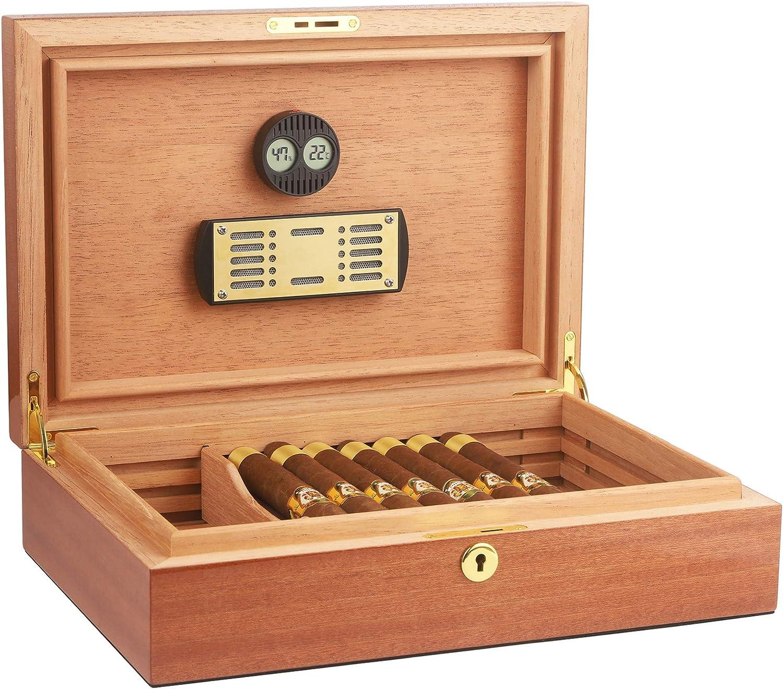CIGARISM Piano Finish Spanish Solid Cedar Cigar Humidor 30 Count (Sapele)