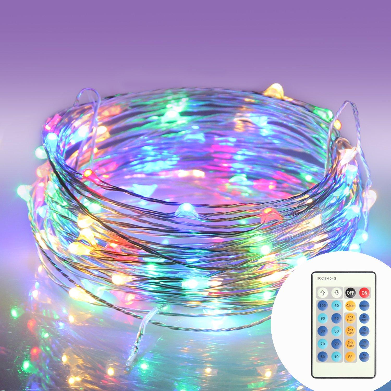 Guirlande Lumineuses Mini 10M 100 LED Étoilées Moniko Chaîne de Lampes Décoratives Câble Eclairage Ampoule Etanche pour Noël Mariage Soirée Maison Jardin Multicoloré