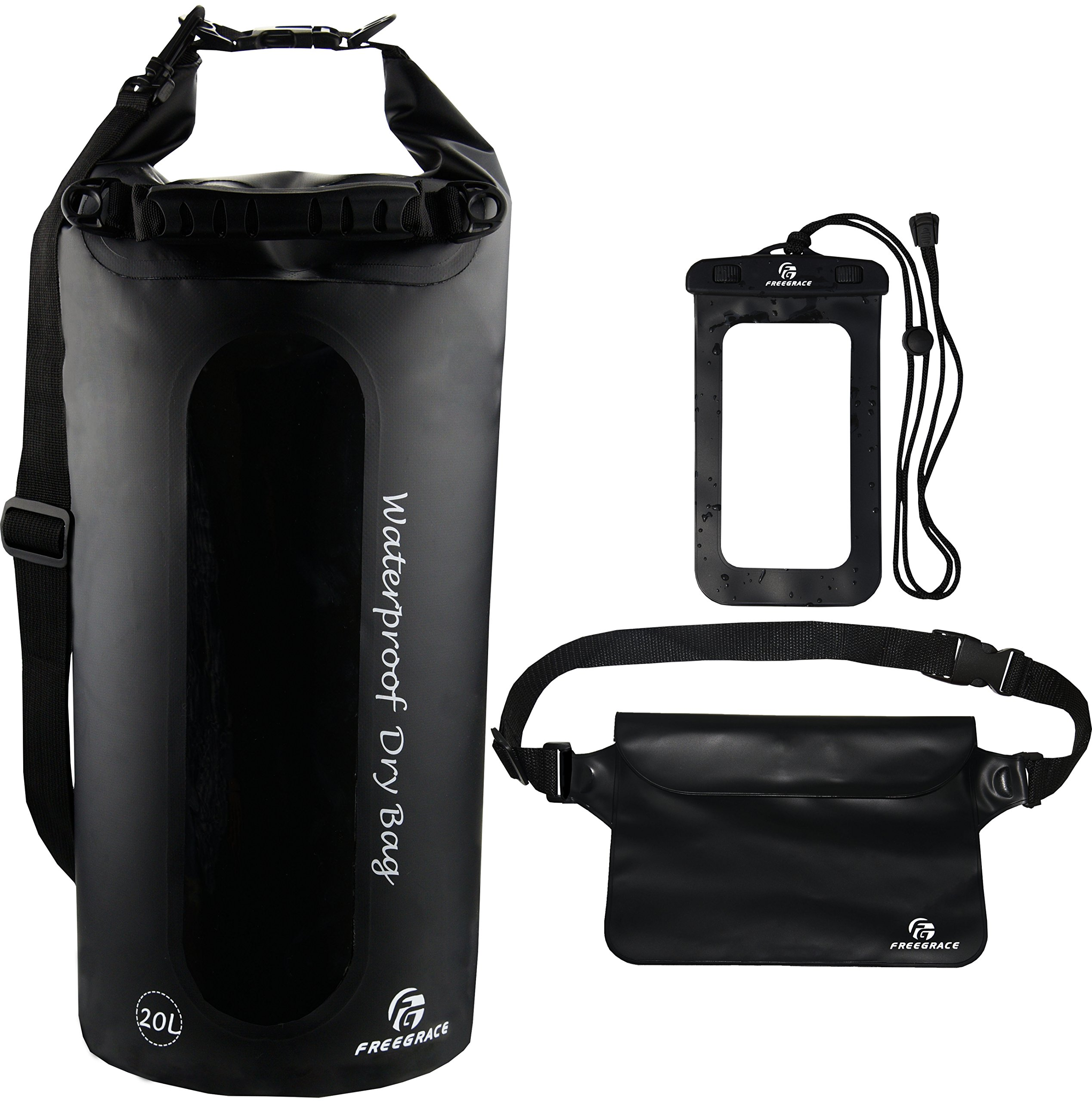 Freegrace Waterproof Dry Bags Set of 3 Dry Bag with 2 Zip Lock Seals & Detachable Shoulder Strap, Waist Pouch & Phone Case - Can Be Submerged Into Water - for Swimming (Black(Window), 20L)