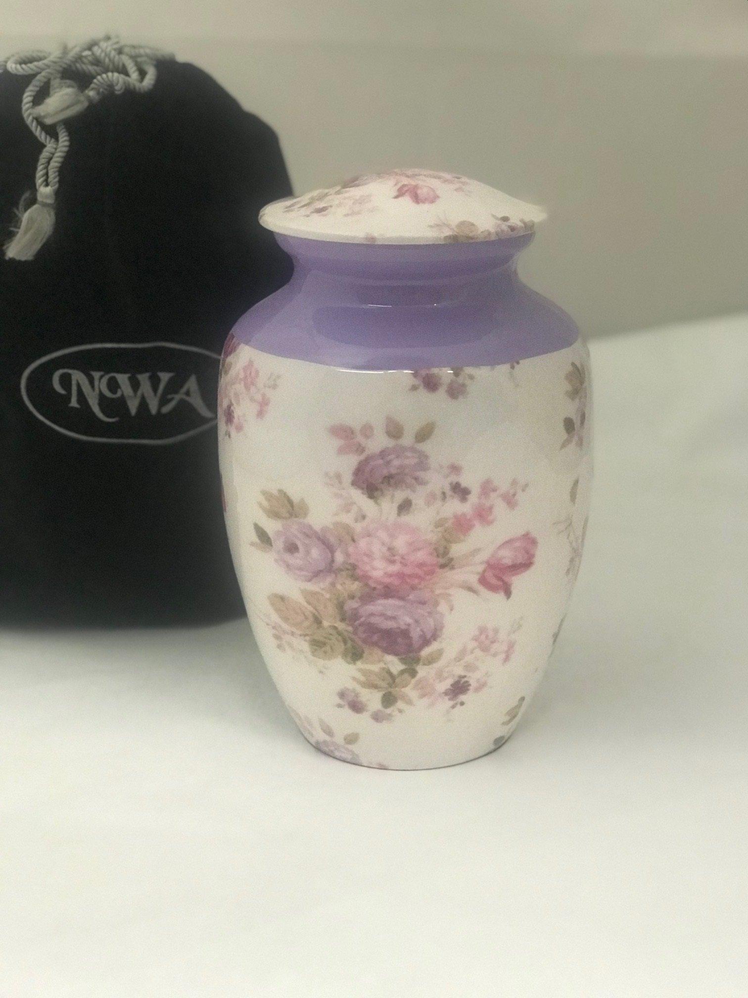 Urn For Human Ashes, Adult Size Floral Lavender Cremation Urn, Memorial Human Urn with Velvet Bag