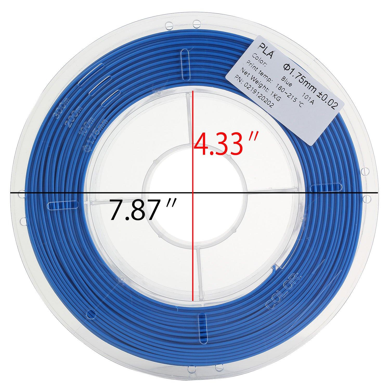 3D Printer Filament PLA 1.75mm 1kg spool (2.2 lbs) Blue HICTOP