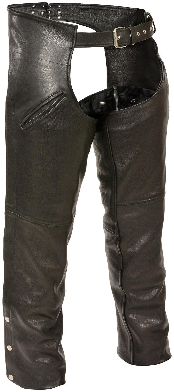 Milwaukee Slash Pocket Leather Chaps with Removable Thermal Liner (Black, Medium) Milwaukee Leather ML1103-M-BLACK