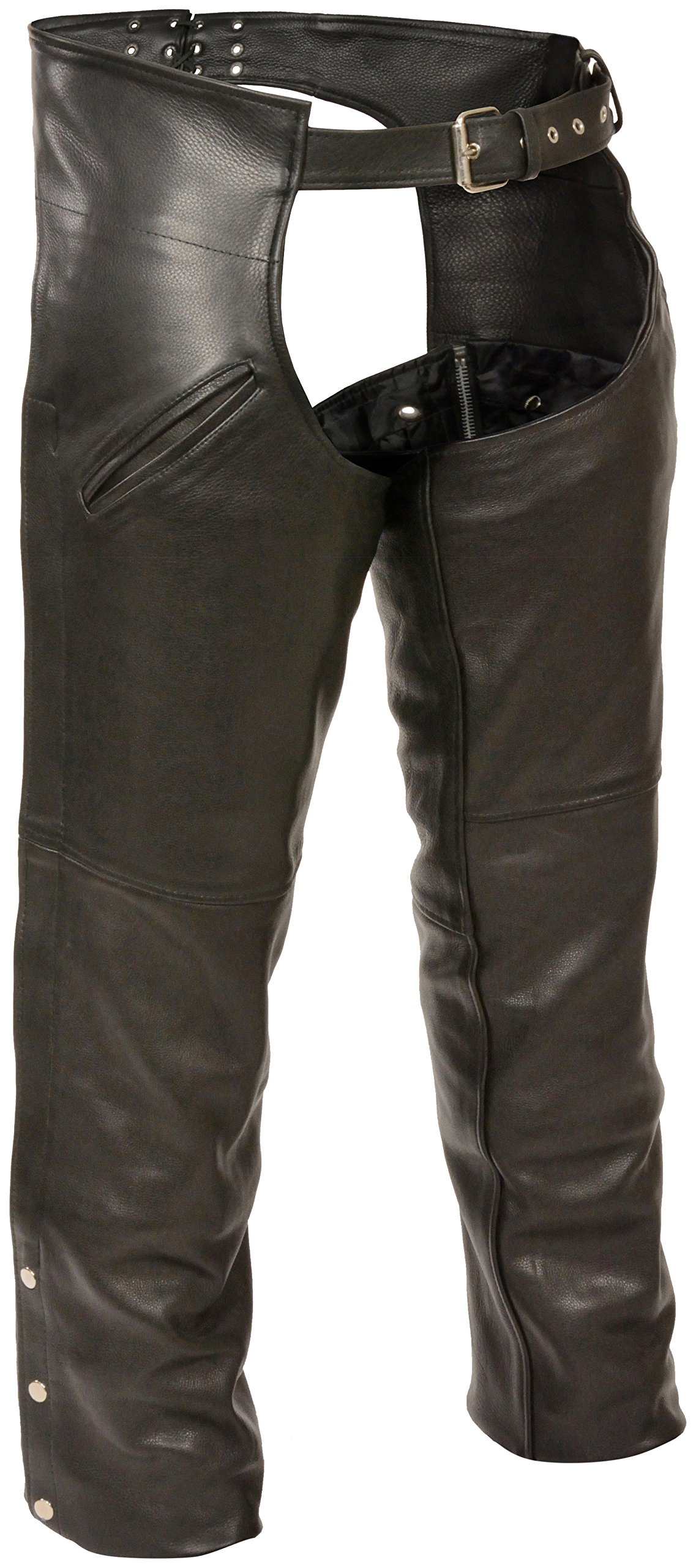 Milwaukee Slash Pocket Leather Chaps with Removable Thermal Liner (Black, Large)