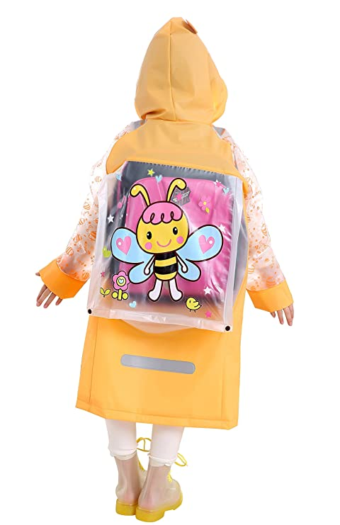 Aircee Kids Rain Coat for Kids Raincoat Girls Boys Reusable Rain Poncho Jacket Gear Schoolbag Position Packable Rainwear