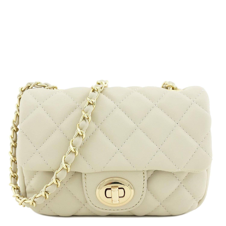 ca053cd3e8f25 Mini Classic Quilted Chain Shoulder Bag Beige  Handbags  Amazon.com