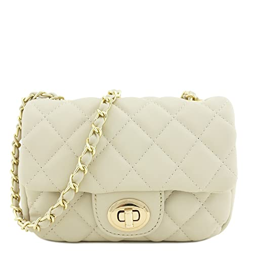 Mini Classic Quilted Chain Shoulder Bag Beige: