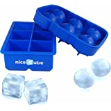 niceCube Silicone Ice Cube Trays and Molds - Large Cubes and Round Ice Ball Maker with Lid Combo 2 Pack - Our Big Cube Shapes Keep Your Drink Cold Longer - Great for Scotch or Bourbon Whiskey