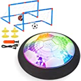 Retruth Hover Soccer Ball Rechargeable with 2 Goals - Cool Disco Light - Soft Foam Bumper Protects Walls and Furniture (No AA