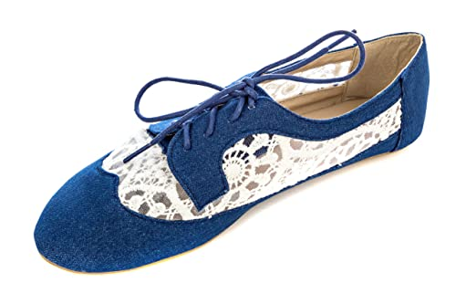 c88da77ff3 Delias Women's Lace-up Wingtip Oxford Ballet Flat Shoe in Chambray Size: 10