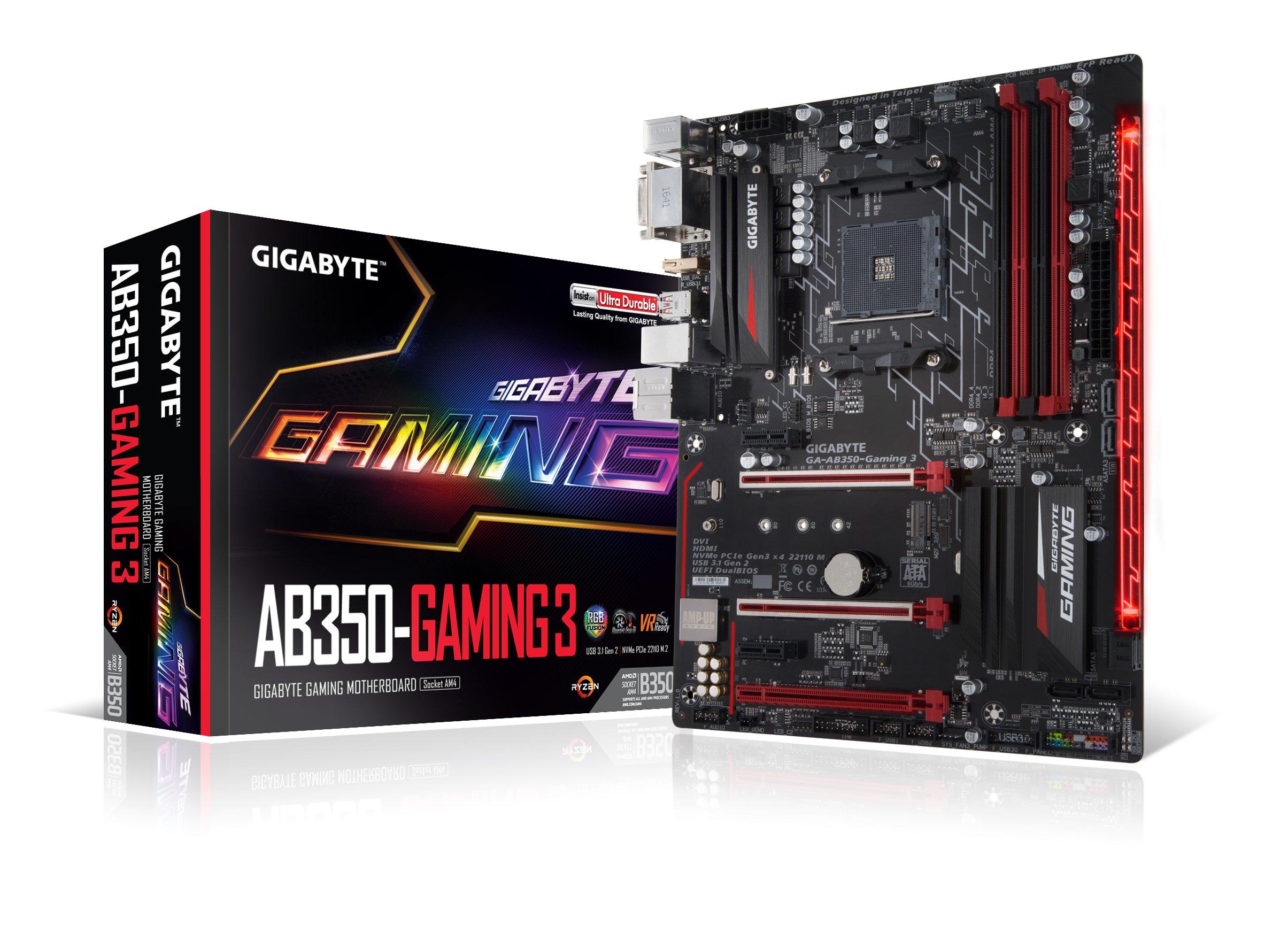 GIGABYTE GA-AB350-Gaming 3 AMD RYZEN AM4 B350 RGB Fusion Smart Fan 5 HDMI1.4 M.2 SATA 6Gbps USB 3.1 Type-A ATX DDR4 Motherboard by Gigabyte