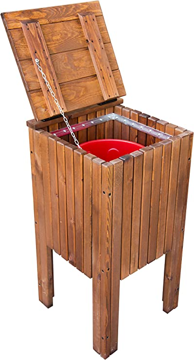 ESTRUCMADER - Papelera de jardín Cuadrada, de Pino Color Cerezo: Amazon.es: Jardín
