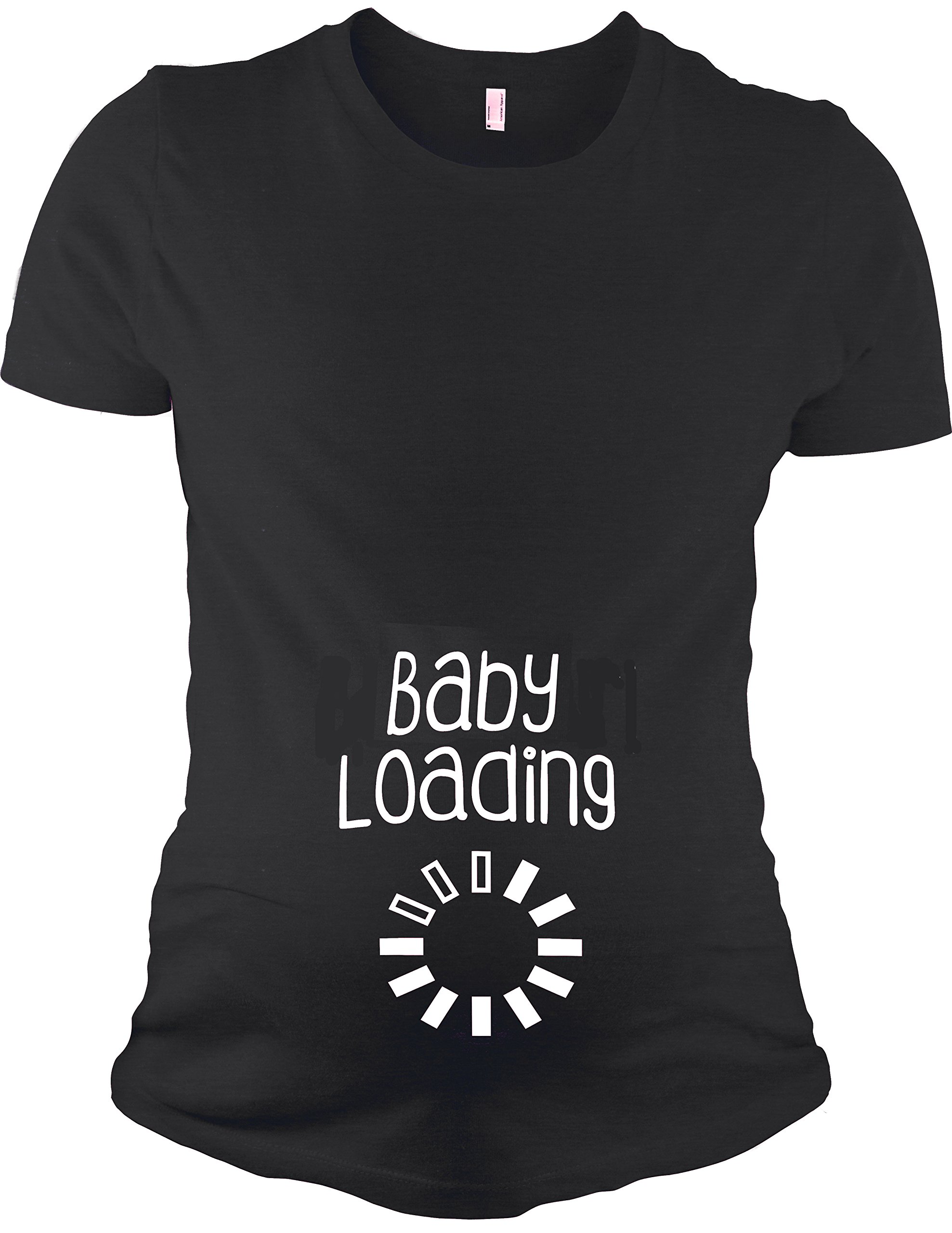 Maternity Short Sleeve T-Shirt - Baby Loading, Black, L