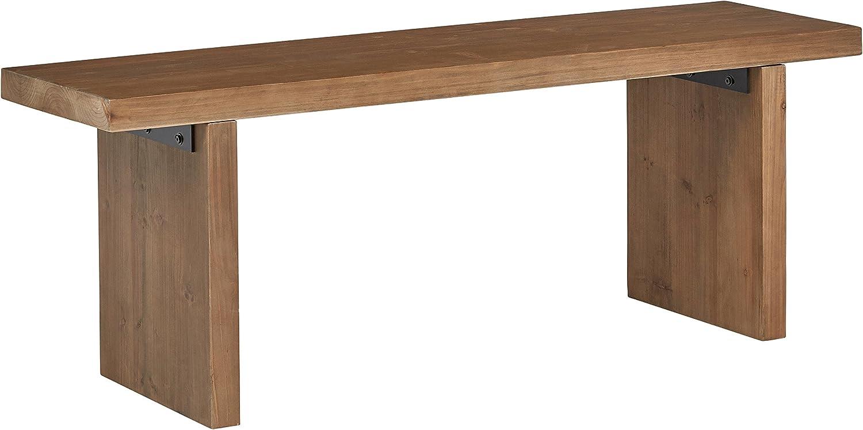 Amazon Brand – Rivet Boundary Mid-Century Modern Dining Kitchen Wood Bench, 18 Inch Height, Brown