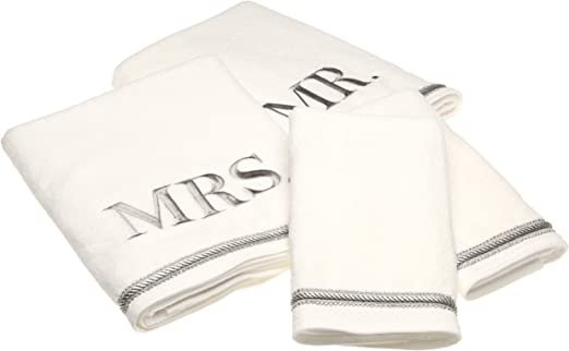 Bride /& Groom Set Embroidered 4 Pc  White Bathroom Hand Towel and Cloth Set