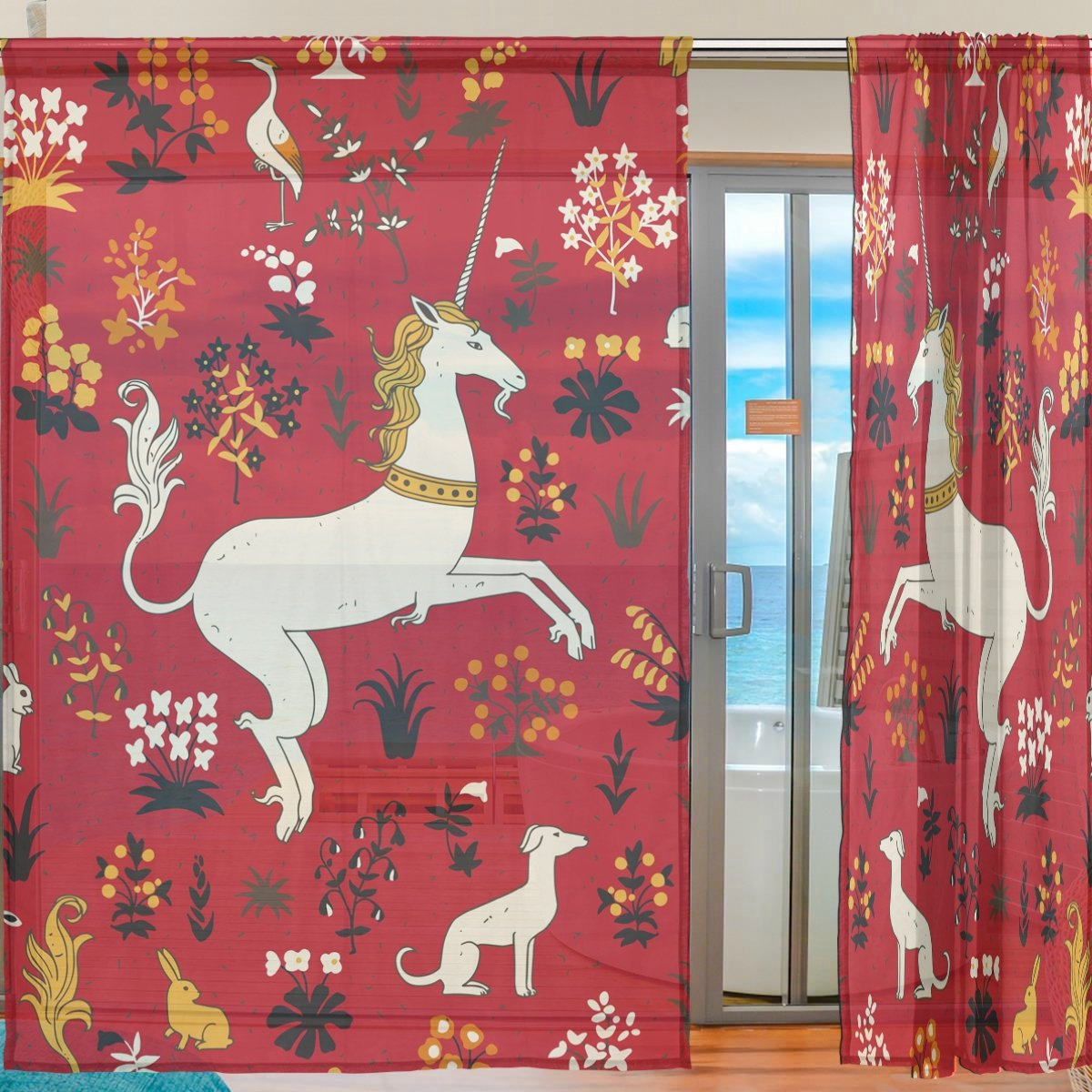 SEULIFE Window Sheer Curtain, Vintage Animal Unicorn Rabbit Flower Voile Curtain Drapes for Door Kitchen Living Room Bedroom 55x78 inches 2 Panels by SEULIFE (Image #2)