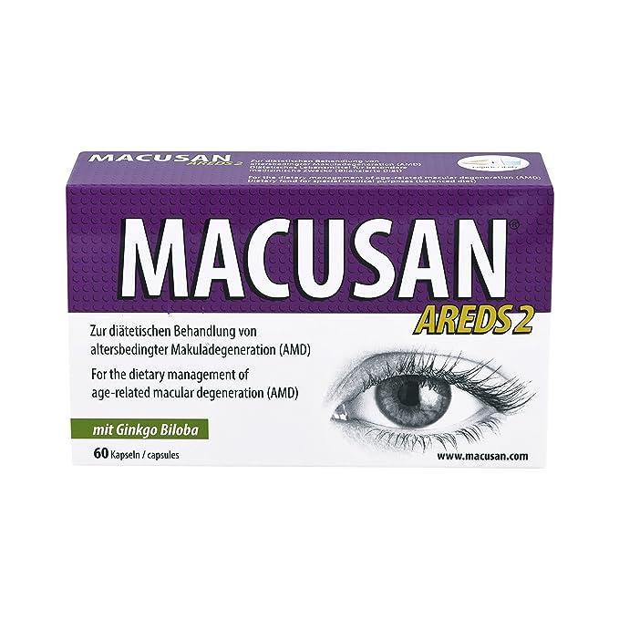 MACUSAN AREDS2 suplementos para vitaminas de ojos maculares con luteína, zeaxantina y ginkgo biloba para la salud ocular: Amazon.es: Salud y cuidado ...