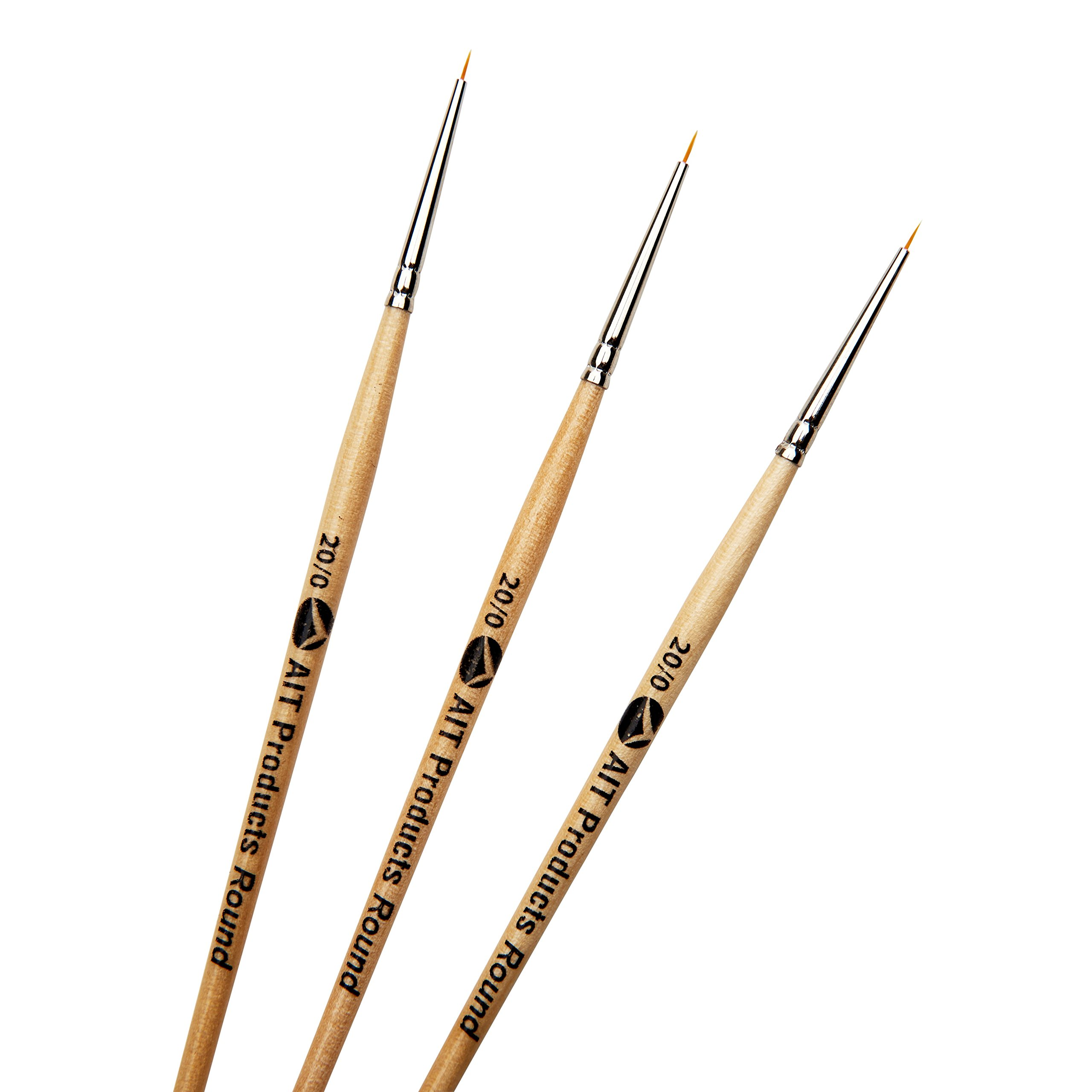 AIT Art Round Detail Paint Brushes, Size 20/0, Pack of 3, Handmade in USA for Trusted Performance Painting Small Details with Oil, Acrylic, and Watercolors