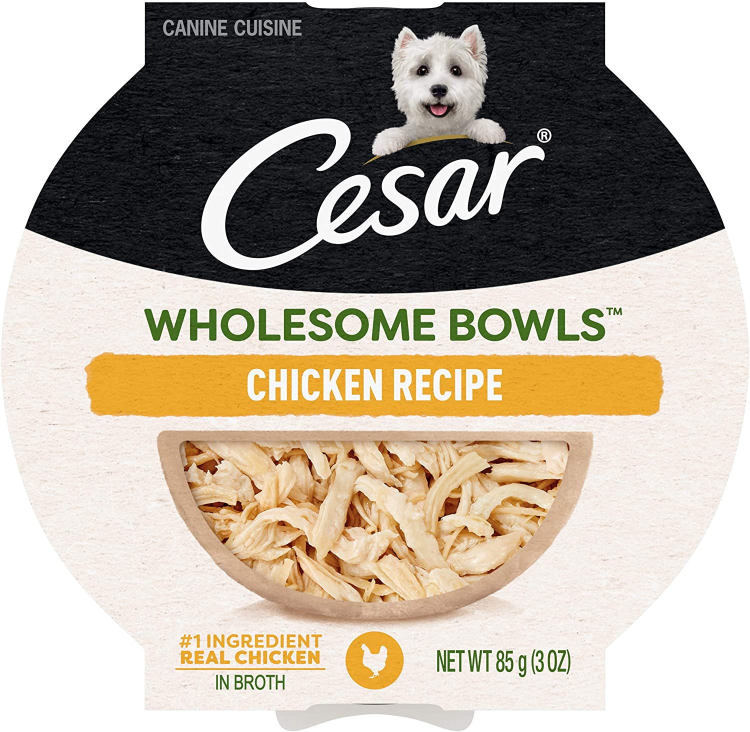 CESAR WHOLESOME BOWLS Adult Soft Wet Dog Food Chicken Recipe, (10) 3 oz. Bowls