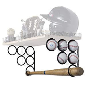 Wallniture Baseball Softball Bat Rack - Sports Accessories - Wood Shelf is not Included - Wall Mounted Shelf Brackets Only Iron Set of 2