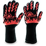 BBQ Dragon Gloves - Extreme Heat Resistant up to 932 Degrees for Oven Mitts, Charcoal Grill, Smoking, Cooking and Grilling, Aramid Fiber with Silicone Non-slip Grips