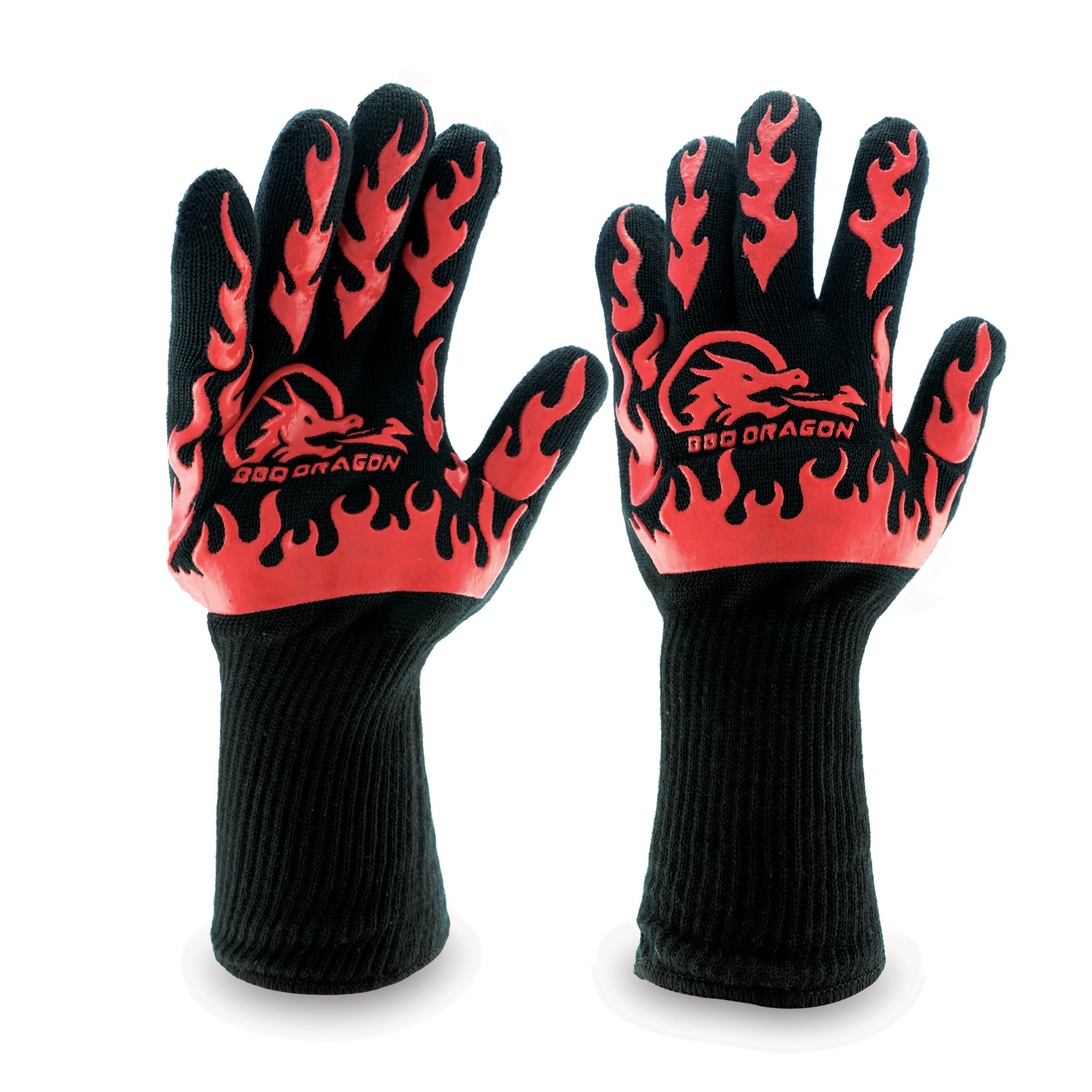 Extreme Heat Resistant Gloves, BBQ Gloves, Hot Oven Mitts, Charcoal Grill, Smoking, Barbecue Gloves for Grilling Meat Gloves, Insulated, Silicone Non-Slip Grips, U.S. Safety Tested - BBQ Dragon by BBQ Dragon