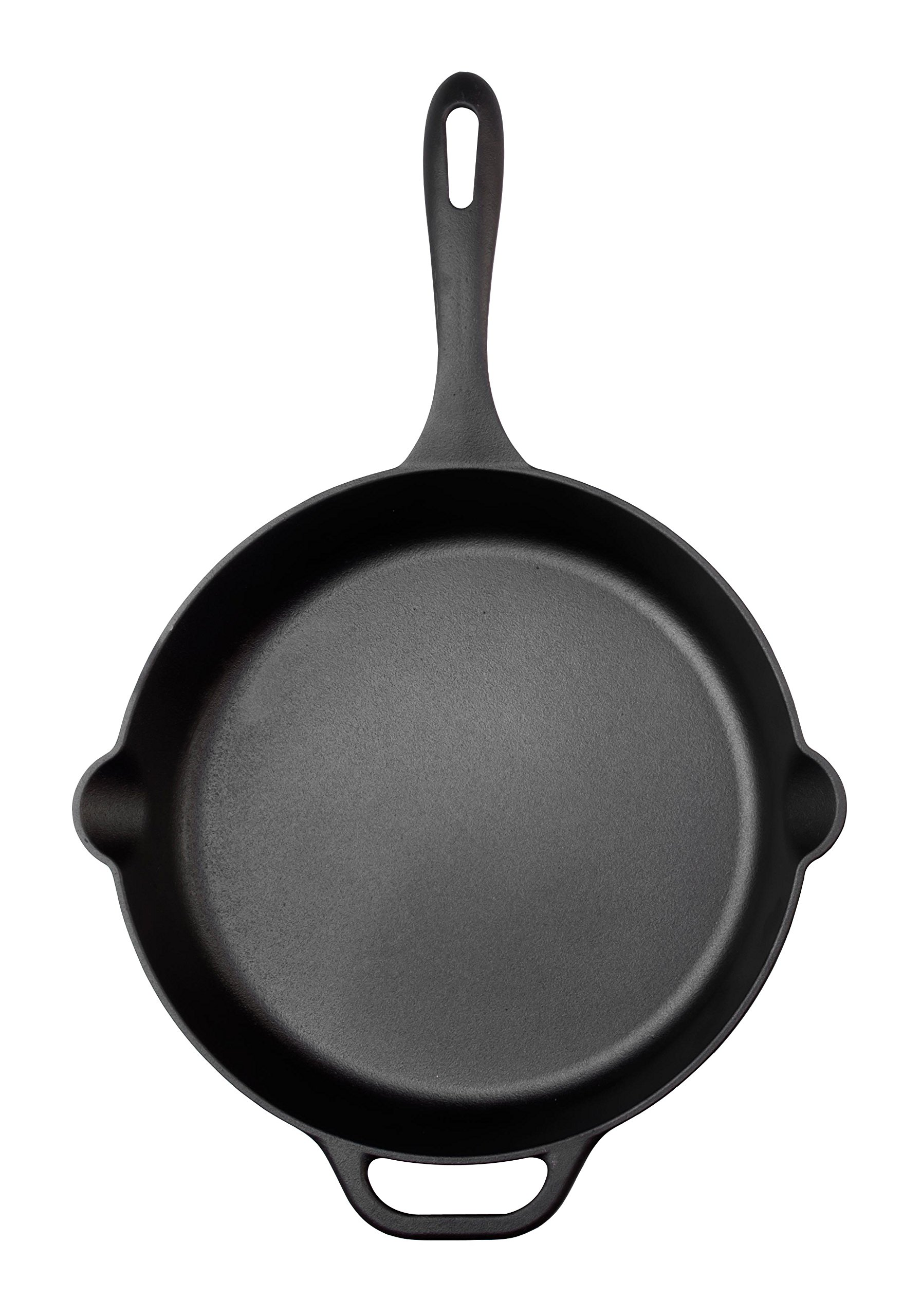 Large Pre-Seasoned Cast Iron Skillet by Victoria, 12-inch Round Frying Pan with Helper Handle, 100% Non-GMO Flaxseed Oil Seasoned, SKL-212 by Victoria (Image #3)