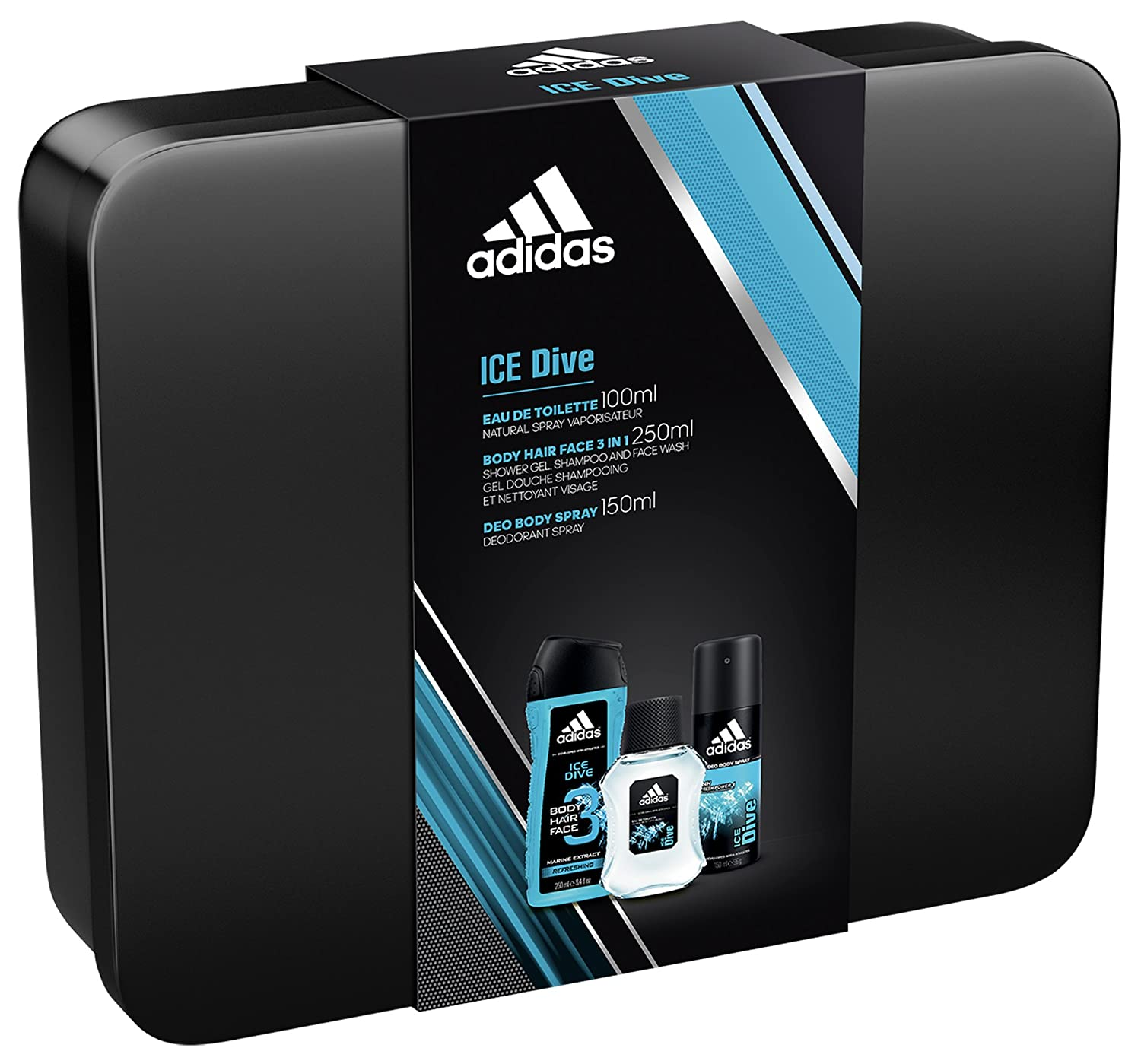 9426f827403d Adidas Ice Dive 3-Piece Tin Can Gift Set - 100ml Eau de Toilette Spray250ml Body  Wash 150ml Deodorant Spray  Amazon.co.uk  Health   Personal Care