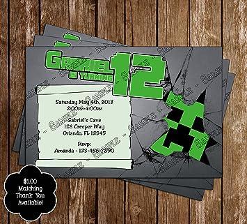 de37e8be3f79 Amazon.com  Minecraft Creeper Birthday Invitation  Health   Personal ...