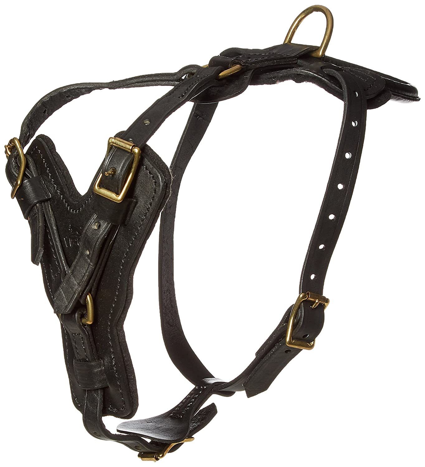 Viper Typhoon Multi-Function Leather Dog Pet Harness Black or Brown for Large Dogs Tracking Predection Police, 26 -32 , Black