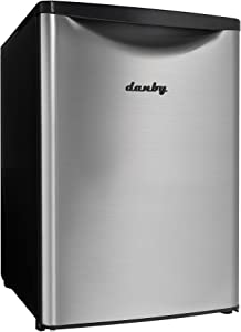 Danby DAR026A2BSLDB 2.6 Cu.Ft. Mini Stainless Look-Free-Standing All Fridge for Bedroom, Living Room, Kitchen, Dorm, silver