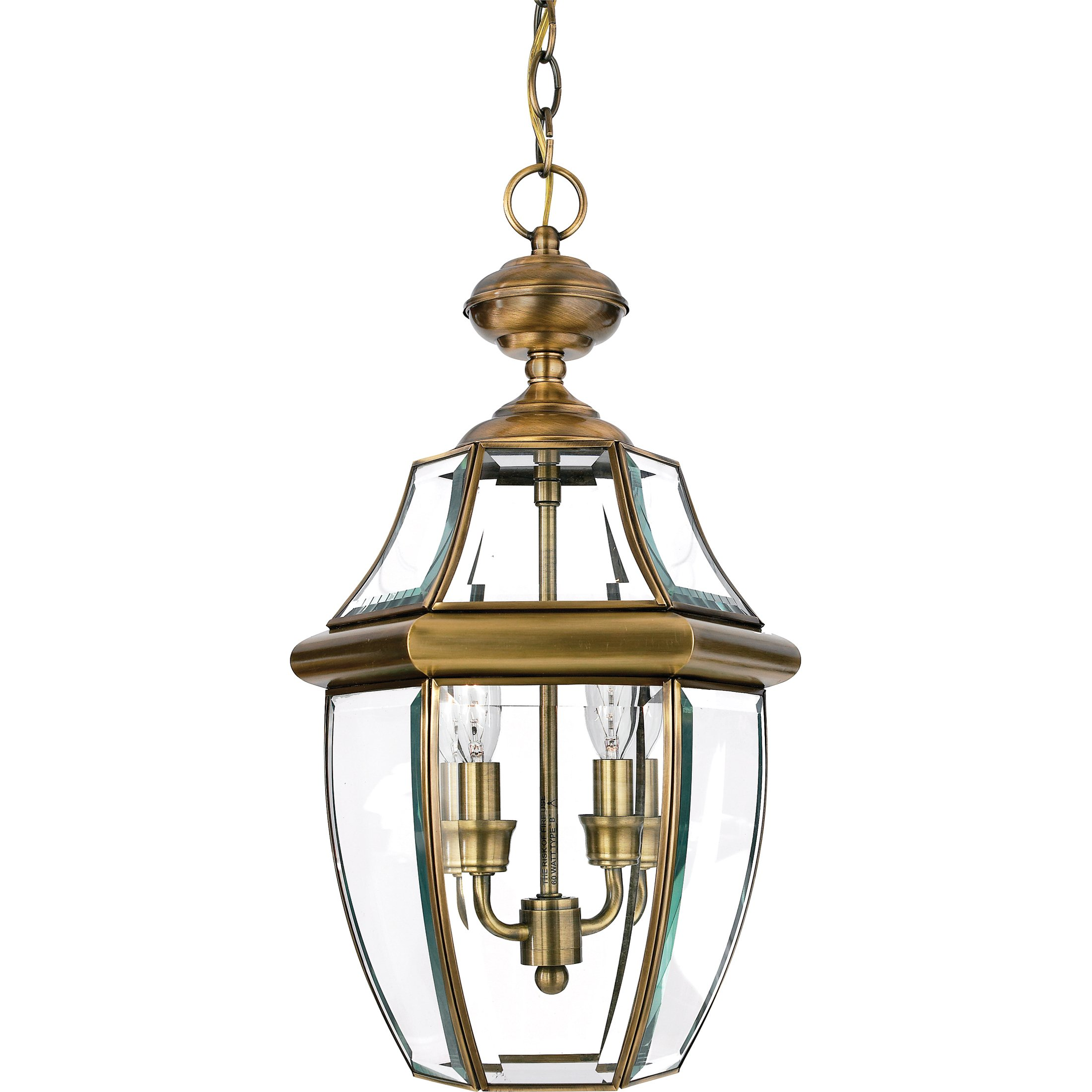 Quoizel NY1178A Newbury 2-Light Outdoor Lantern, Antique Brass by Quoizel