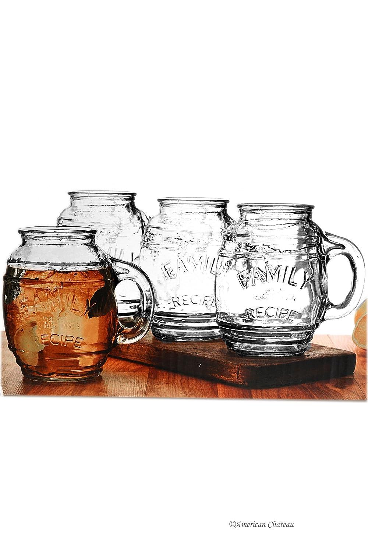 Set 4 Large 26oz Barrel Family Recipe Drinking Beverage Mason Jar Beer Glasses American Chateau