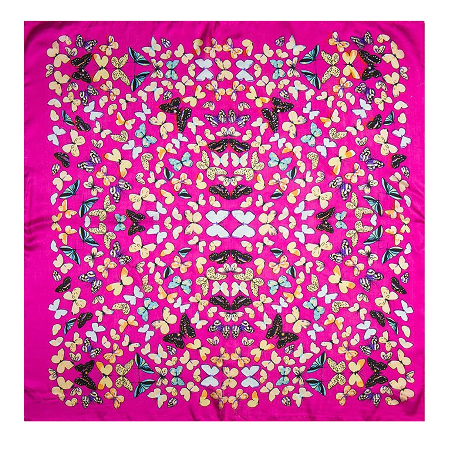 100% Silk Scarf Women Scarf Butterfly Print Small Square Silk Scarf (Pink)