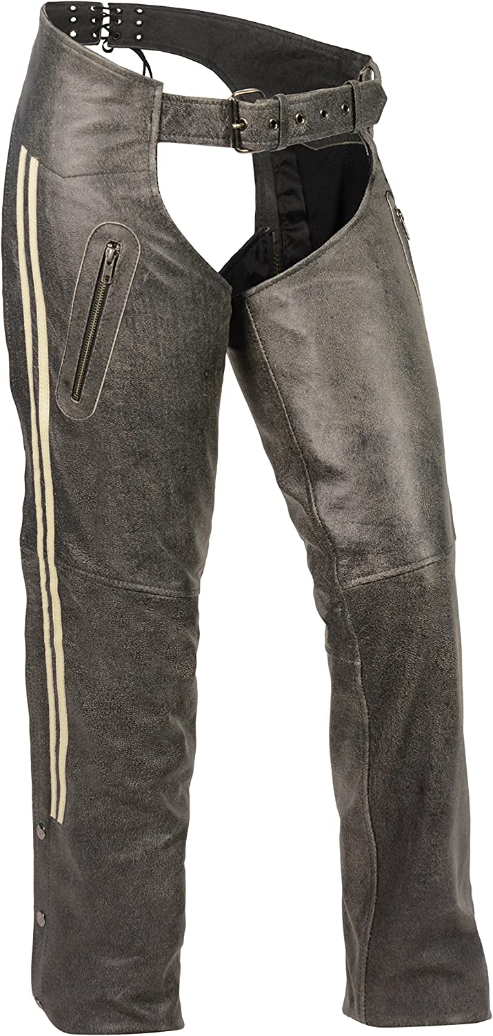 GREY, Medium Milwaukee Leather Womens Chap with Color Stripe