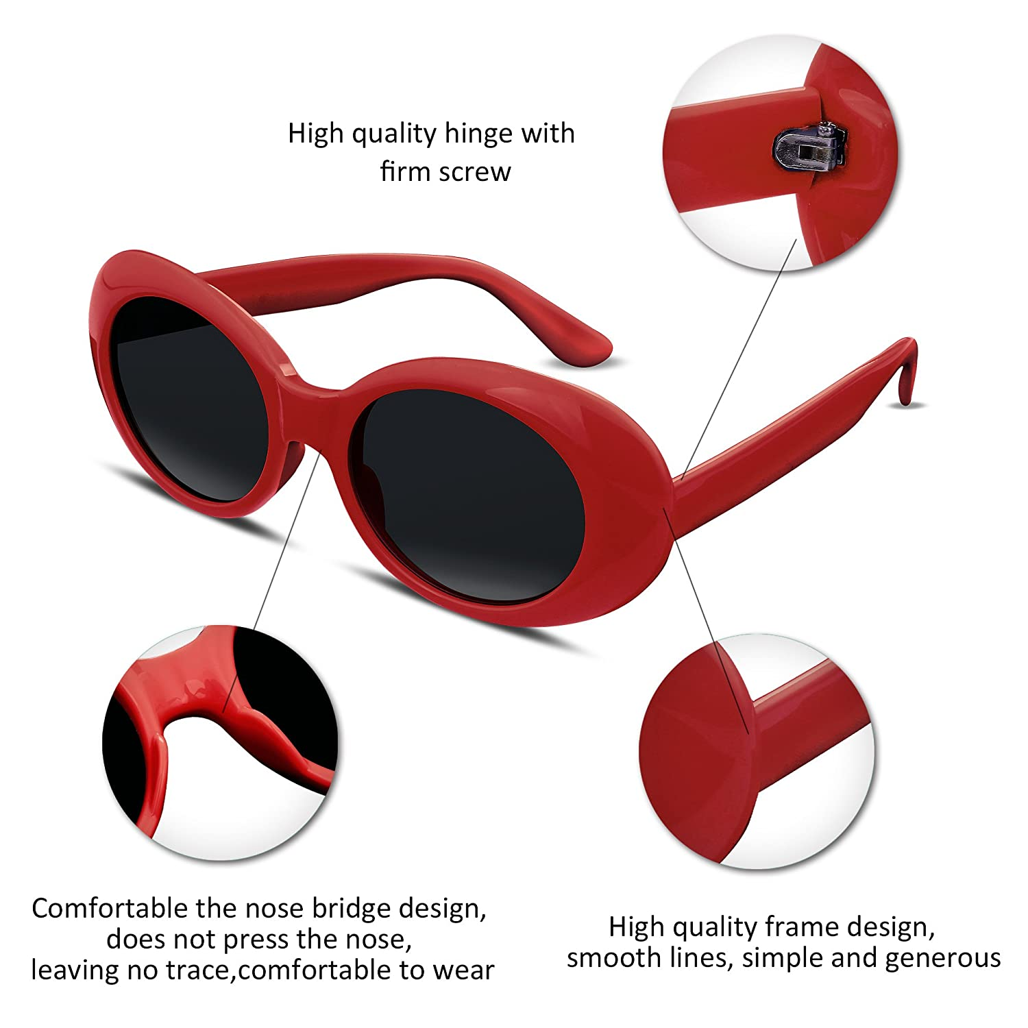 FEISEDY Candy Oval Acetate Frame Clout Goggles Kurt Cobain ...