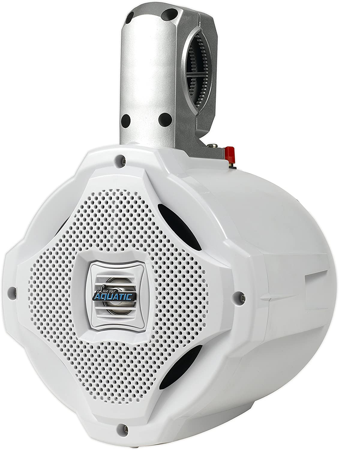 in a Heavy Duty ABS Enclosure White Bluetooth Marine Wakeboard Tower Speaker Lanzar AQAWBS64WT 6.5 Inch 1000 Watt Two Way Audio Water Resistant Boat Sound System
