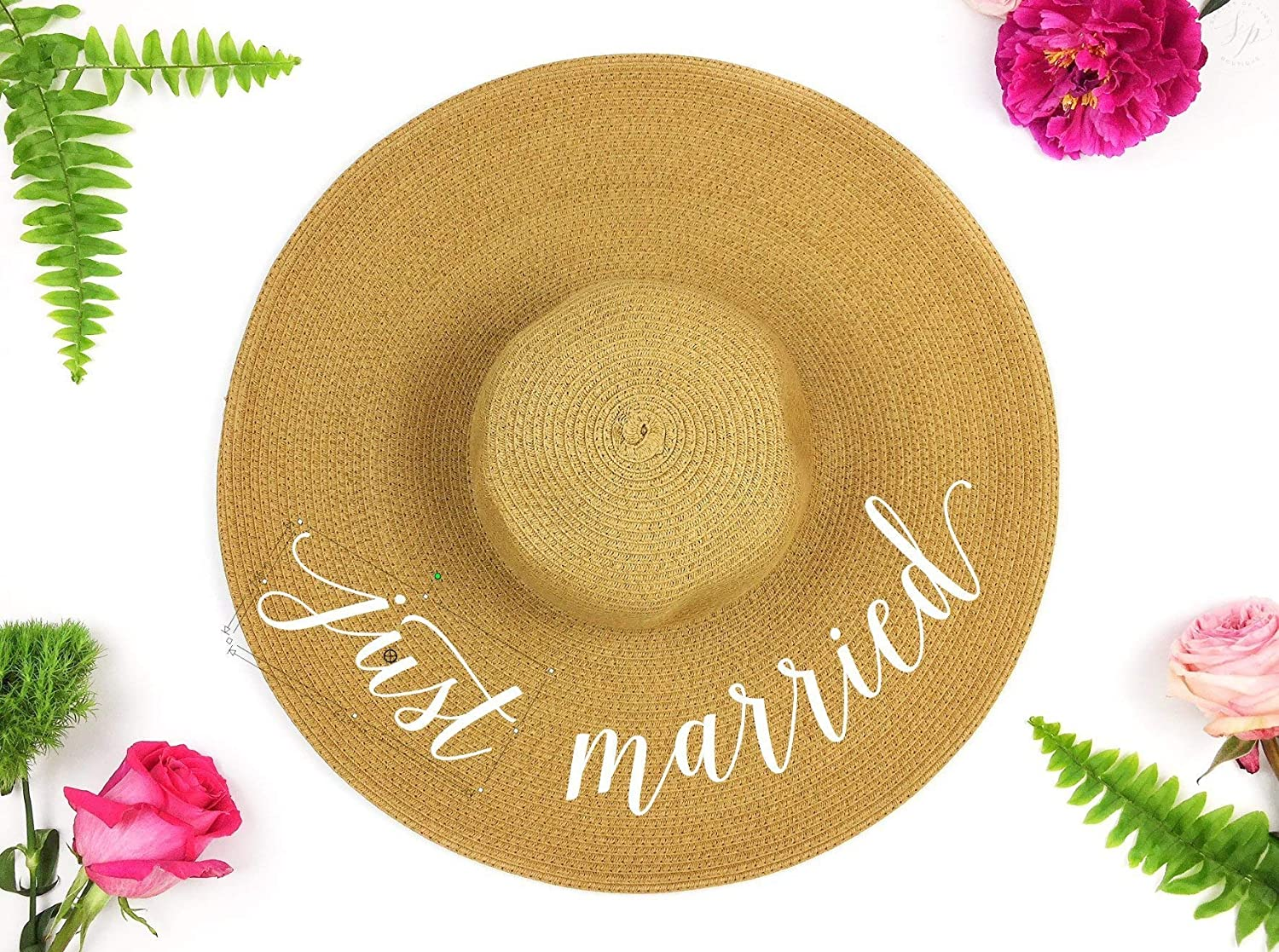 Just Married Honeymoon Beach Floppy Hat, Bride Beach hat, Beach Hat, Honeymoon Hat, Floppy Bride Hat, Just Married Hat, wifey hat, Honeymooning Hat, sequin beach hat
