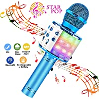 BlueFire Karaoke Microphone 4 in 1 Bluetooth Karaoke Microphone Wireless Handheld Microphone Portable Speaker Machine Home KTV Player with Record Function for Android & iOS Devices(Blue)