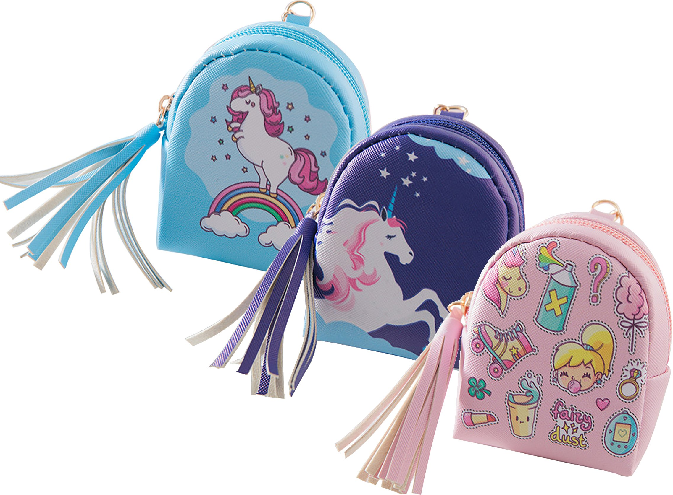 Ababalaya Creative Cartoon Unicorn Pattern Mini Backpack Coin Purse with Key Ring 4×3 inch,Group 5