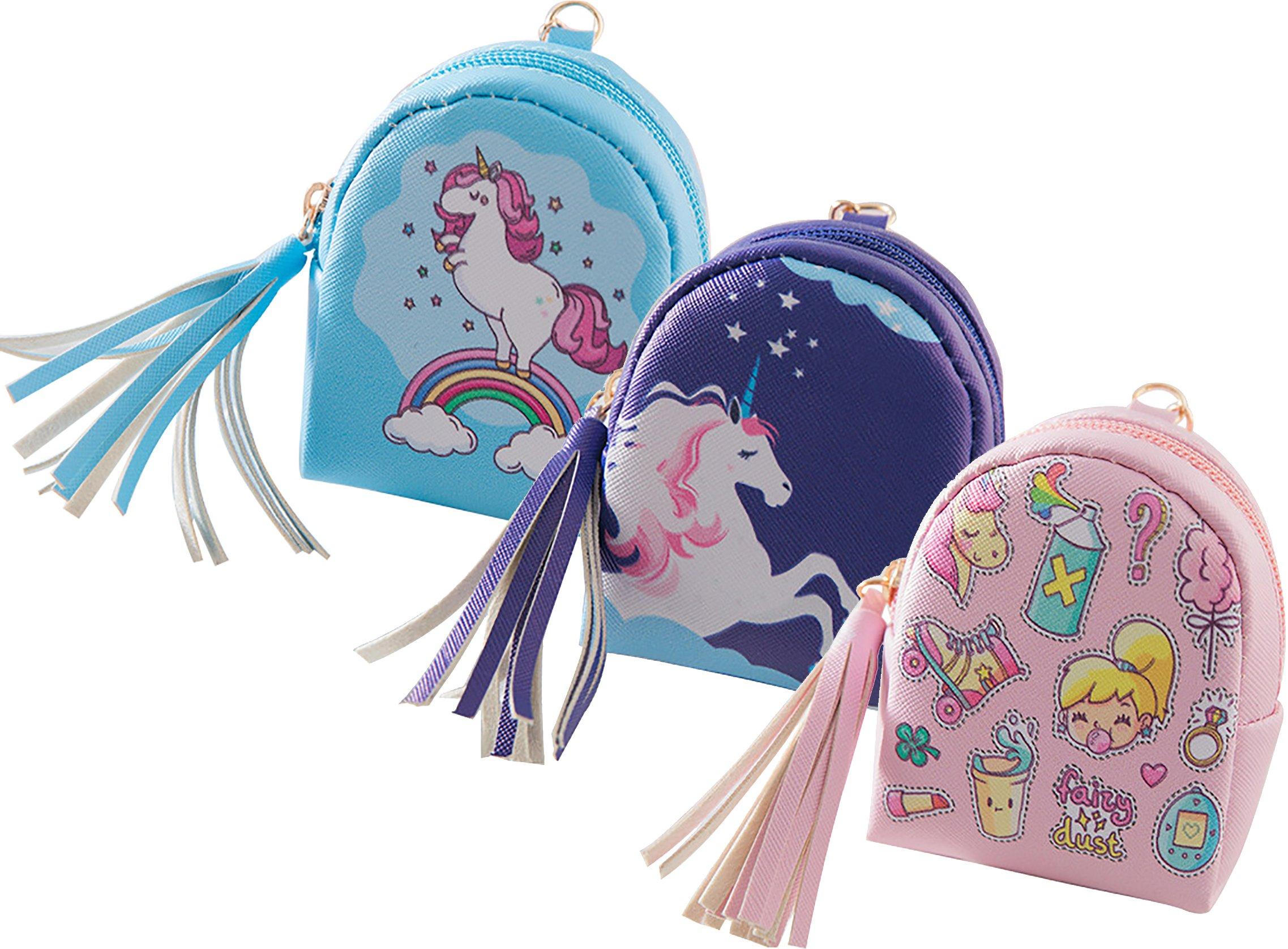 Ababalaya Creative Cartoon Unicorn Pattern Mini Backpack Coin Purse with Key Ring 4×3 inch,Group 5 by Ababalaya