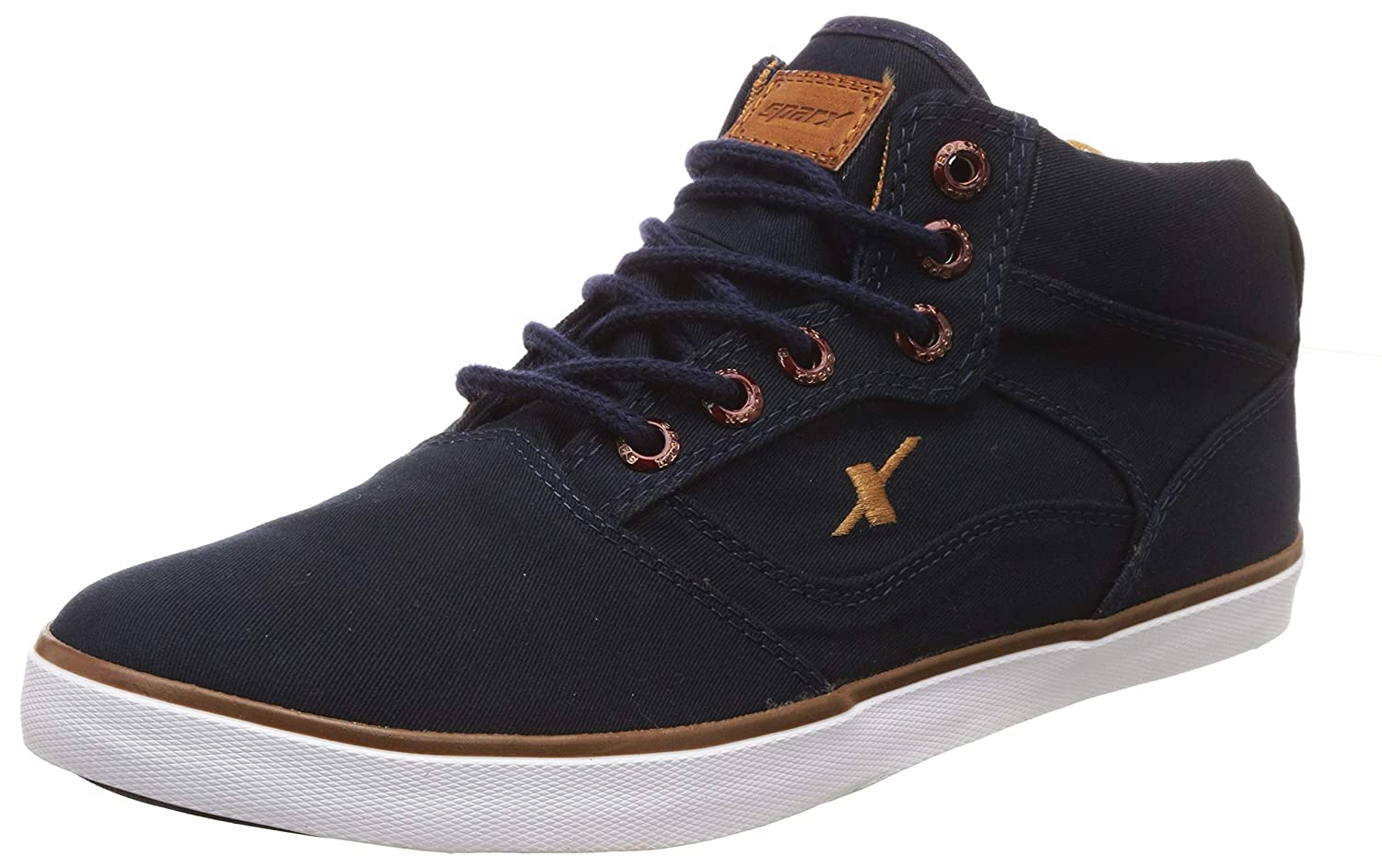 Sparx Men's Navy Blue and Tan Sneakers