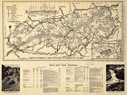 Amazon.com: Vintage 1940 Map of Great Smoky Mountains National Park ...