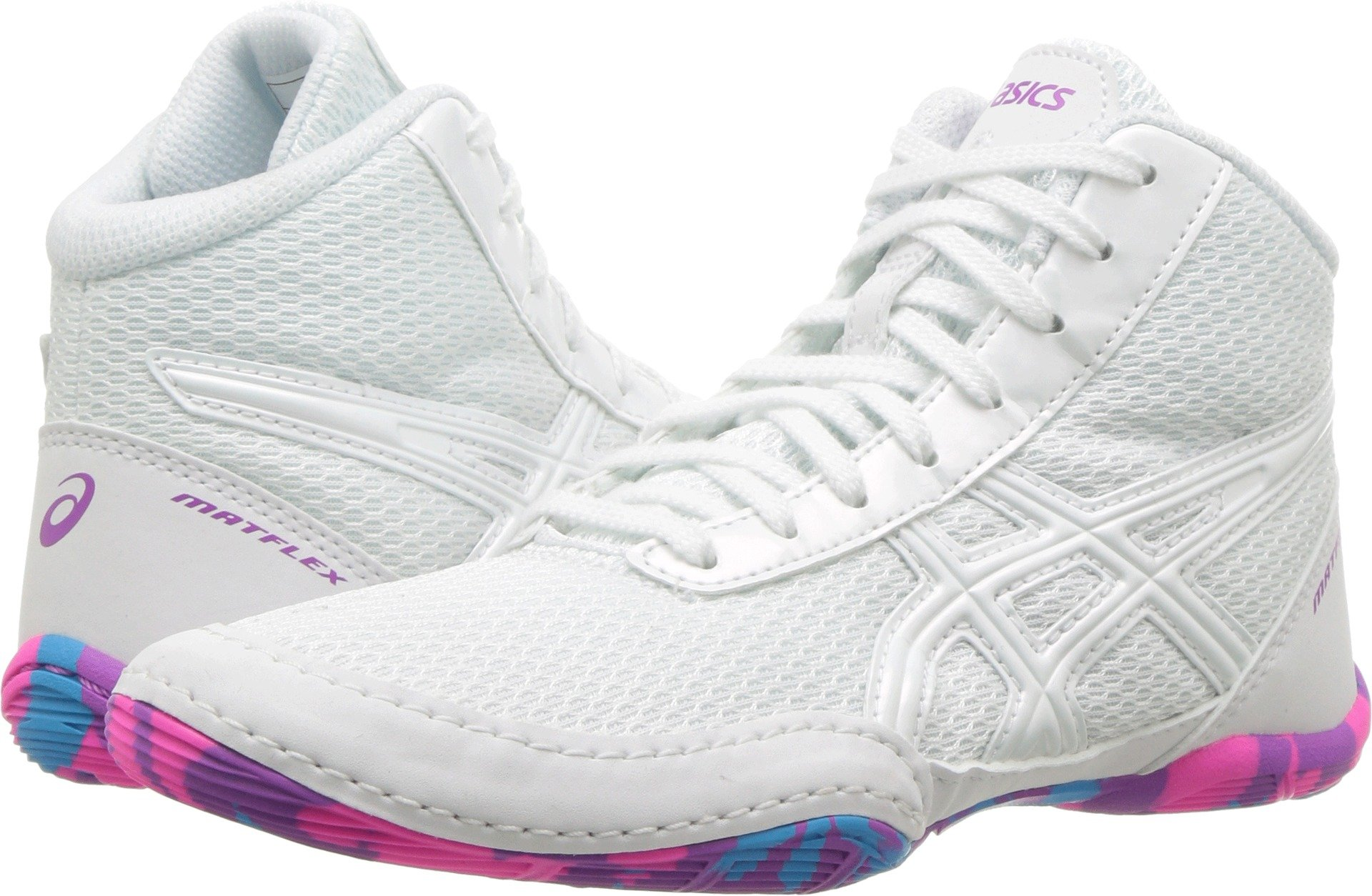ASICS Matflex 5 Gs White/White/Multi Wrestling Shoes 6