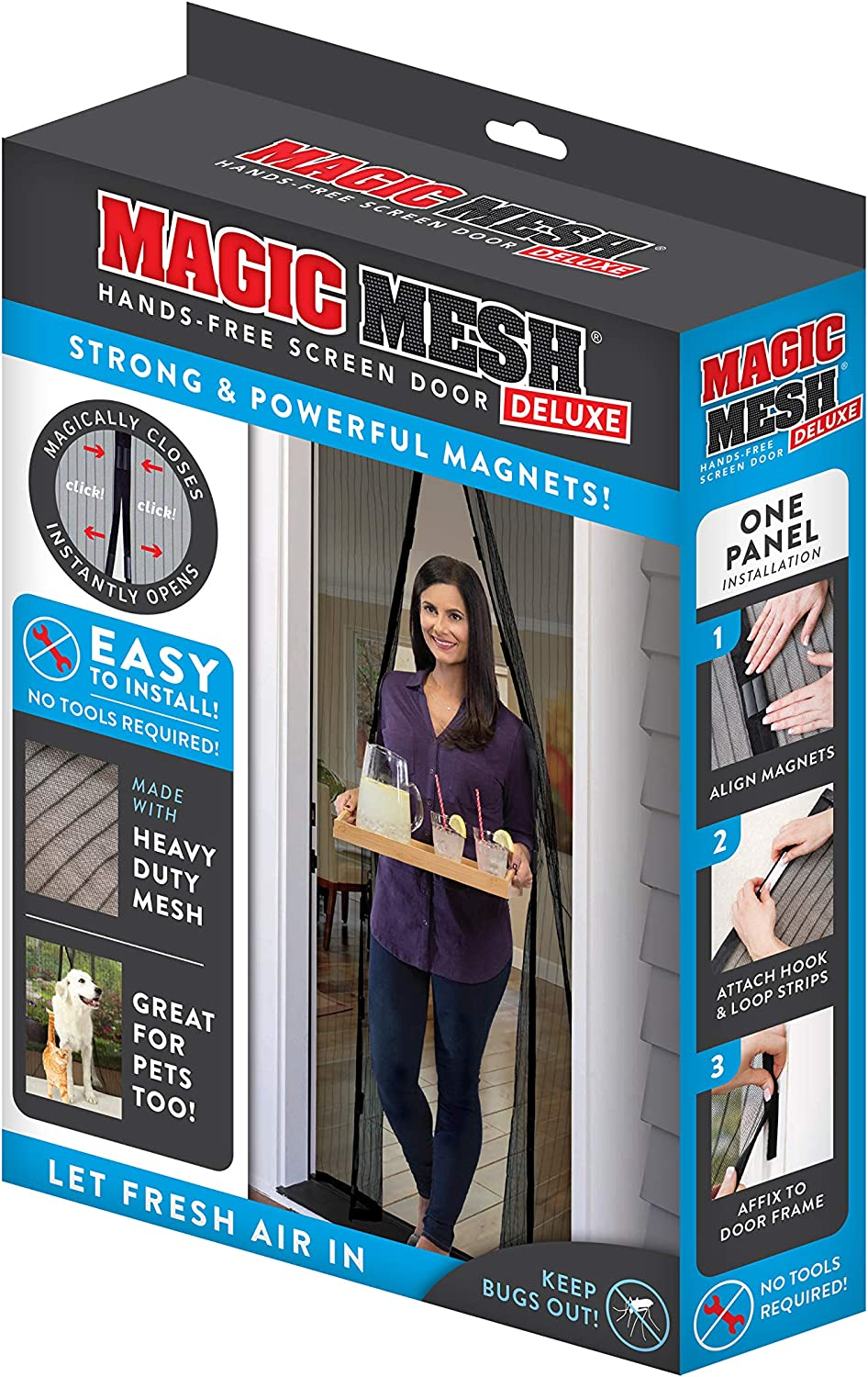 Magic Mesh Deluxe- Black- Hands Free Magnetic Screen Door, Mesh Curtain Keeps Bugs Out