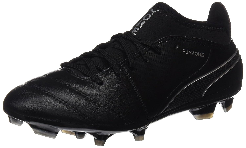 Puma Herren One 17.3 FG Fuszlig;ballschuhe  46 EU|Schwarz (Black-black-silver)